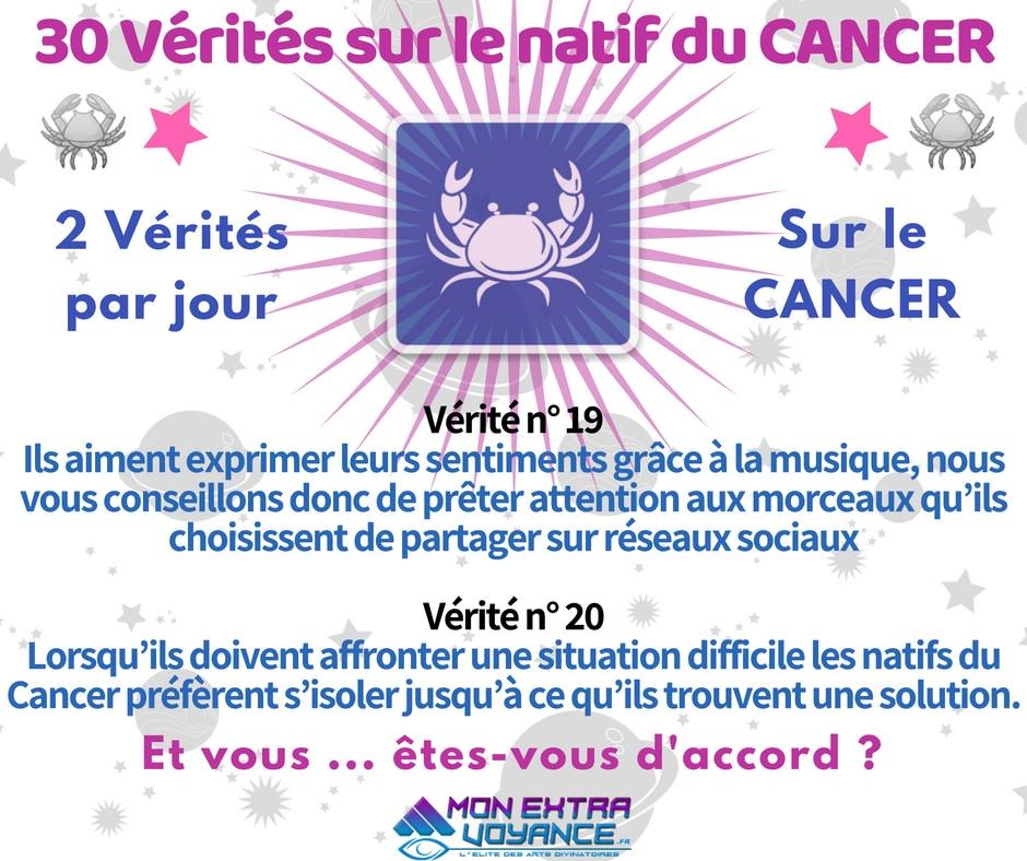 Signe du cancer VERITES DU JOUR 19 20
