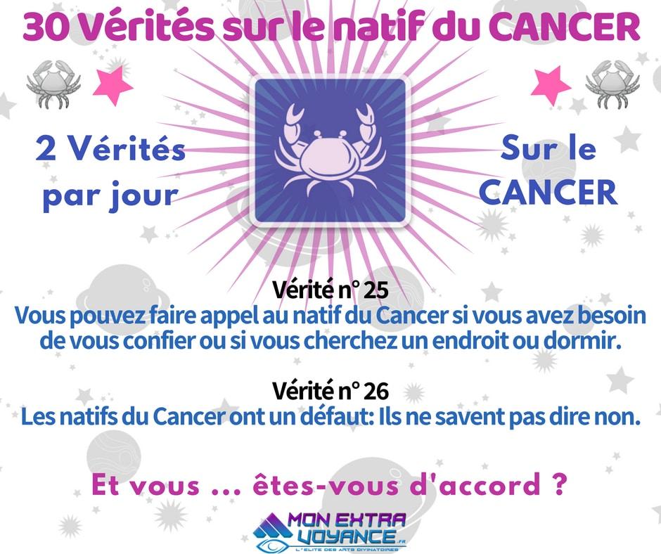 Signe du cancer VERITES DU JOUR 25 26