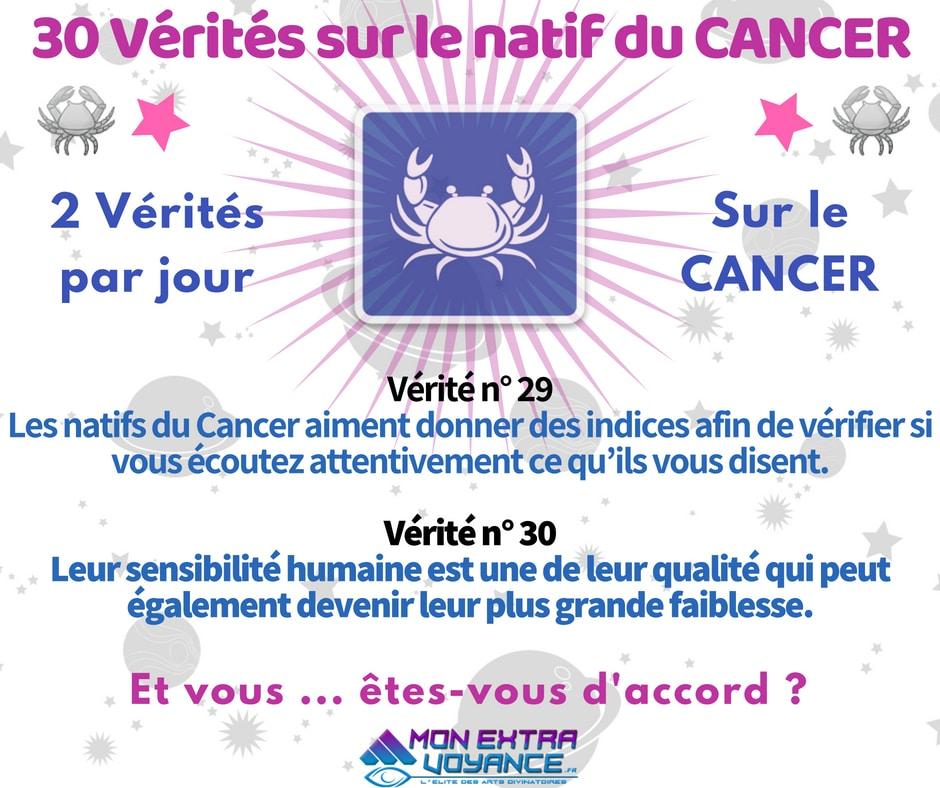 Signe du cancer VERITES DU JOUR 29 30
