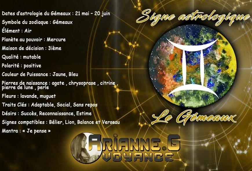 Infographie du signe astrologique du Gémeaux